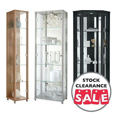 Ex-Display HOME Tall Glass Display Cabinet Double Corner Oak White Black