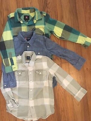 Boys Lot Of 3 Long sleeved Shirts, Quicksilver, Chaps, And Gap Size 6-7