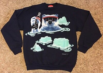 Vintage 90's Coke Polar Bear Sweatshirt Large Coca Cola 1995 glass bottle