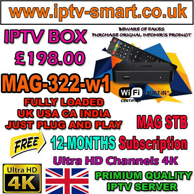MAG 256 w1 WLAN WiFi +12 months 4K UHD - IPTV BOX Subscription