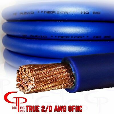 2 Gauge 20ft BLUE Power Ground OFC Wire Copper FLAT Marine Cable 2 AWG USA