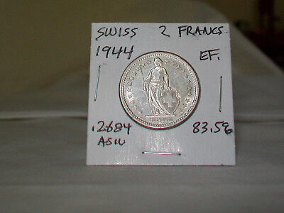 1944 B   Swiss Silver  2 Francs,  83.5 % Silver , Extra Fine