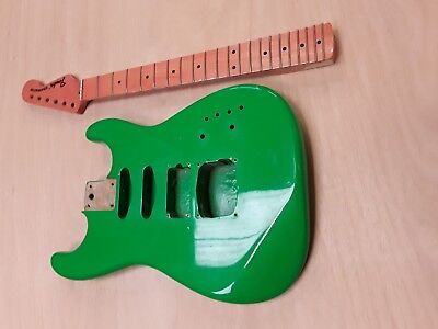 Project Stratocaster guitar body and neck with fender logo