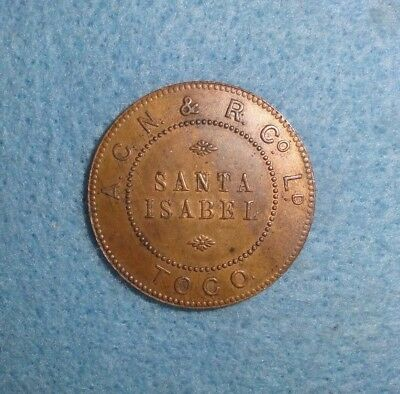 Toco, Chile Mining, Railroad Co. Token - A. C. N. & R. Co. Ltd. Santa Isabel, $1