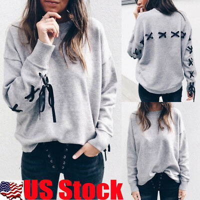 US Womens Bandage Long Sleeve Blouse Lace Up T-Shirt Casual Hoodie Pullover Tops