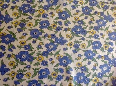 Vintage Bright Country Blue Yellow White Flowers  Daisy FeedSack Fabric