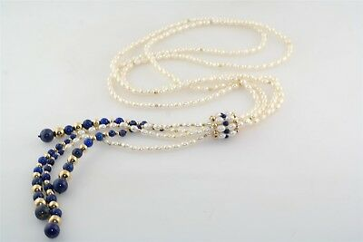 Lapis & Freshwater Pearl 14k Yellow Gold Lariat Necklace Double Strand
