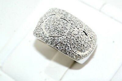 Designer Pave Diamond 18k White Gold Band Ring 2.0 tcw Excellent