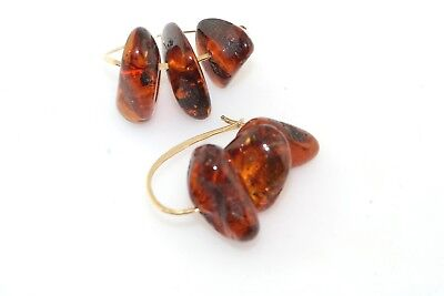 Designer Amber Chunk Hammered 14k Yellow Gold Hoop Earrings