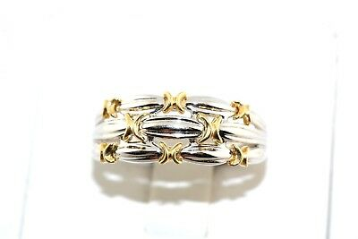 18k White & Yellow Gold Woven Design Band Ring Israel