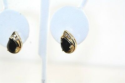 Black Onyx & Diamond 14k Yellow Gold Earrings