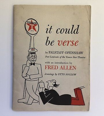 """Humorous """"it could be verse"""" Texaco Star Theater Advertising 1943 Fred Allen"""