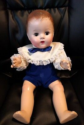 Vintage antique All composition bisque molded hair baby doll 15""