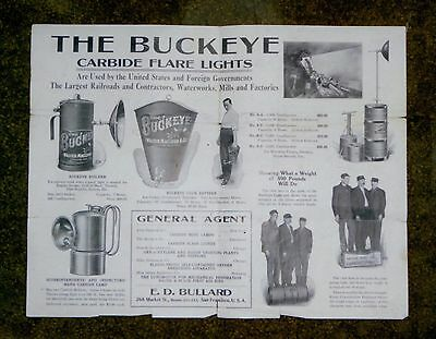 Early 1900's The Buckeye Carbide Flare Lights, Gold Mining, California Brochure