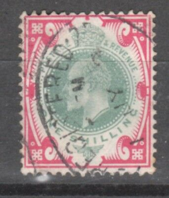 UK-GREAT BRITAIN-1902/1910-EDWARD VII- 1SH.- RED &GREEN-Y&T nr.117-used stamp