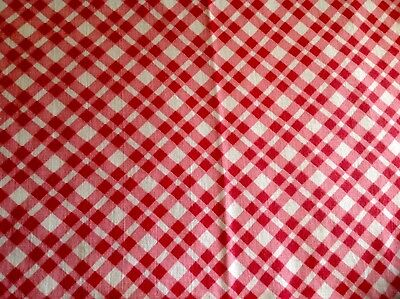 Vintage Bright Red Pink White Check Design FeedSack Fabric