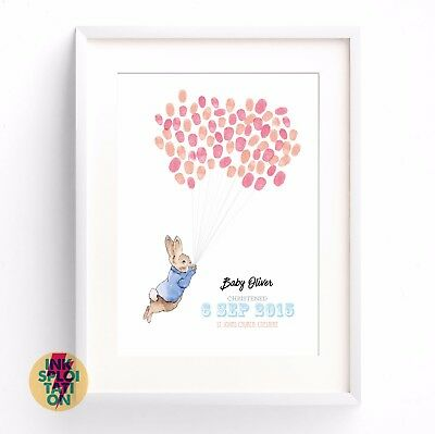 Personalised Peter Rabbit Fingerprint Print Christening Gift Nursery New Baby