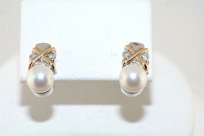 Designer Japanese Cultured Pearl Diamond 14k Yellow White Gold Earrings