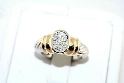 Contemporary Pave Set Diamond 14k Yellow & White Gold Ring