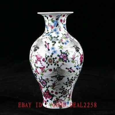 Chinese Porcelain Hand-painted Crane&Flower Vase W QIanlong Mark CQYG01