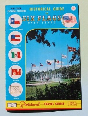Historical Guide to Six Flags Over Texas, 1960s Pictorial Souvenir, Color