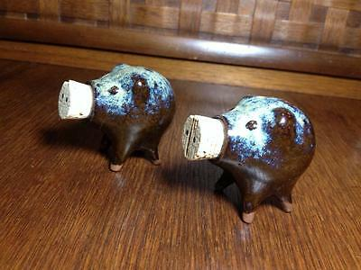 """Mid century pig ceramic salt and peppers """" Pikes Place Market"""" Brownware,retro"""