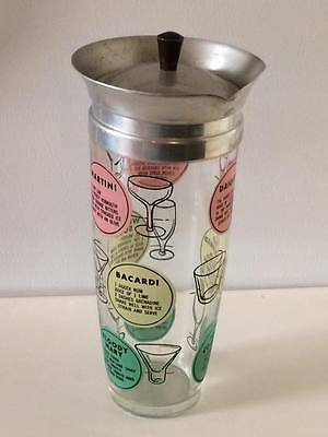 Mid century modern 1950s cocktail martini recipe shaker Tom Collins ? rare
