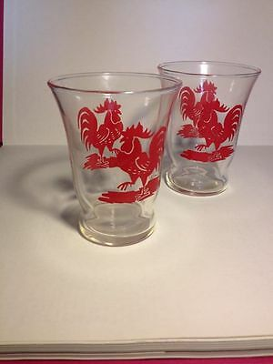Pair of Libbey rooster shot glasses
