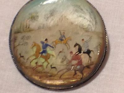 Hand painted Persian antique  Brooch on mother of pearl  Signed
