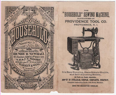 """The """"Household"""" Sewing Machine Trade Card, Scenes of Rhode Island"""