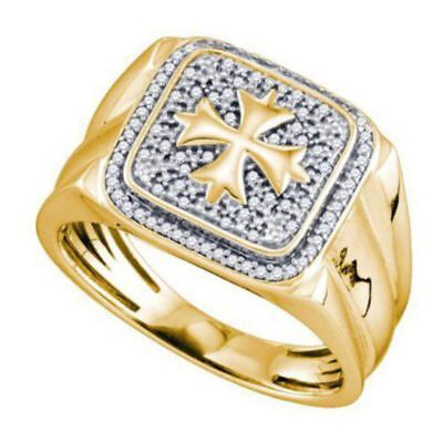 Solid Vermeil Real Diamond 'Viking Crusaders Cross' Signet Band Ring 1/5CT