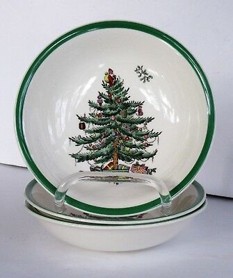 """Spode Christmas Tree (Green Trim)  Three CEREAL BOWLS 6 1/4""""  - Mint"""