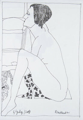 * Charles BLACKMAN 'Seated Nude in Profile' original ink on paper - signed + COA