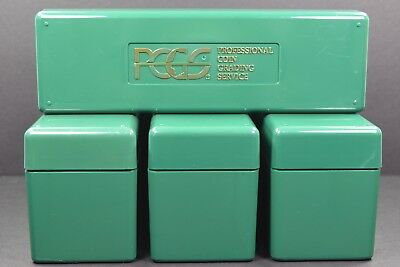 4 PCGS Boxes - Each holds 20 coins, PCGS Green Storage Boxes - Used