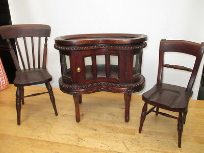 "Vintage Victorian Mahogany Style Child Size 16"" Kidney Cabinet Two 16"" Chairs"