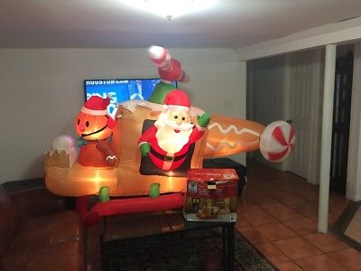 8' Santa Helicopter Inflatable Animated Airblown Christmas Decor