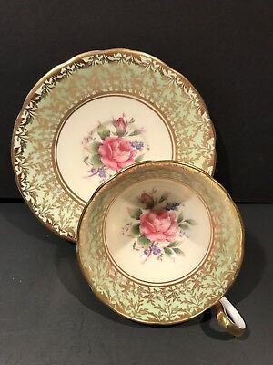 Aynsley Mint Green Heavy Gold Cabbage Rose Tea Cup and Saucer Set C800