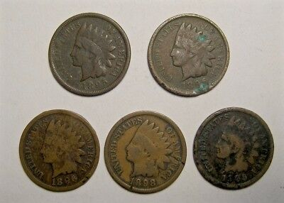 1895, 1896, 1898  & 1906 Usa Indian Head - Small Copper Cent  - 5 Coin Lot N/r