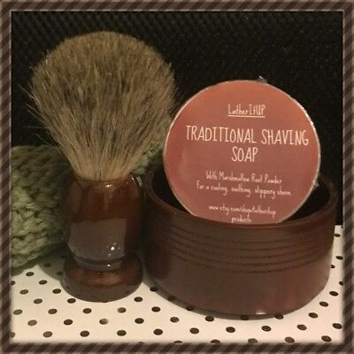 Shaving Bowl, Brush, Traditional Shaving Soap And Washcloth