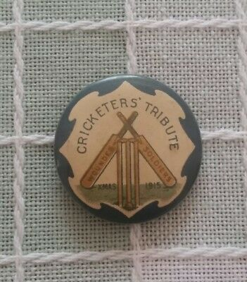 1915 Rare Xmas Cricketers Tribute For Wounded Soldiers Tin Badge