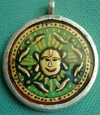Small Rare Vintage Gold Embossed Sun Face Head Sterling Silver Necklace Pendant