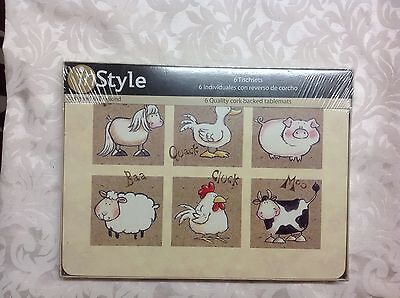InStyle 6 farm animal cork backed table mats placemats new in box sealed