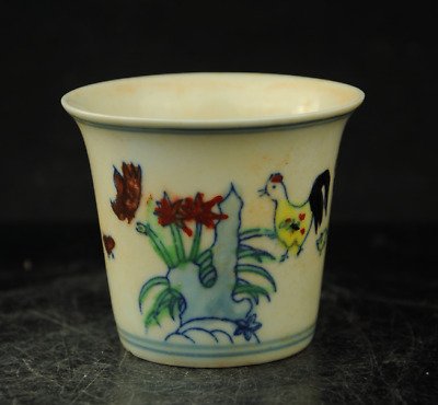 old chinese Exquisite wucai Porcelain Cock Rooster Chicken lucky cup DaMing mark