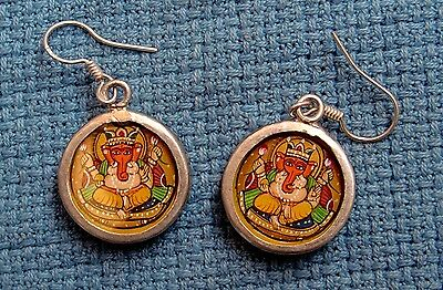 Vintage Unique Engraved Lord Ganesha Silver Earings Pair Jewelry Very Fine Art 1