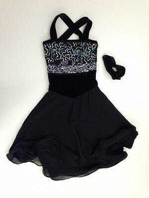 New Figure Skating Competition Dress Elite Xpression Black And Pink Child 6-8