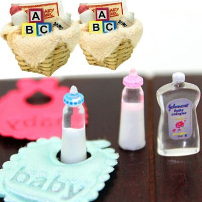 1/12 Dolls House Miniature Baby Accessories Basket Nursery Cot Bottle Blocks