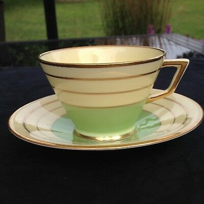 ART DECO Crown Staffordshire mint green and Ivory Teacup and Saucer