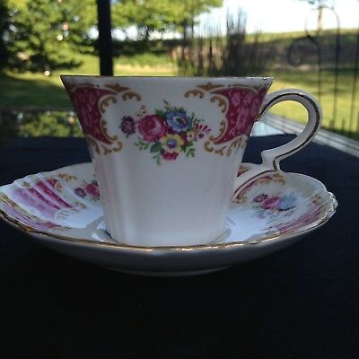 Royal Standard Pink/gold filigree teacup and saucer FREE SHIPPING