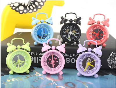 Mini Metal Alarm Clock Concise Portable Bedroom Home Student Parlor Child Gift