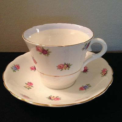 Colclough Teacup and Saucer blue gold gilding tiny pink flowers FREE SHIPPING